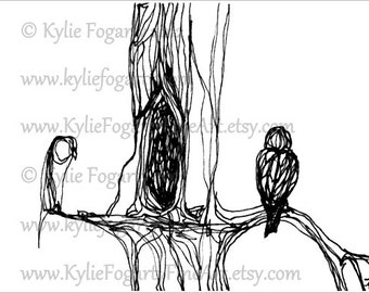 Black and White, ACEO Print, Tiny Bird Line Art Drawing, Owl, Bird in trees, Black and White Line Art, Ink Drawing