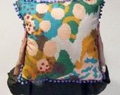 Digital Print Throw Cushion Cover with Original Stitched Needlework Pattern and Pom Pom Trim