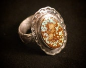 Sterling Silver Stamped Ring with Tufa Cast Shank & Rare Cerrillos Turquoise - Size 7
