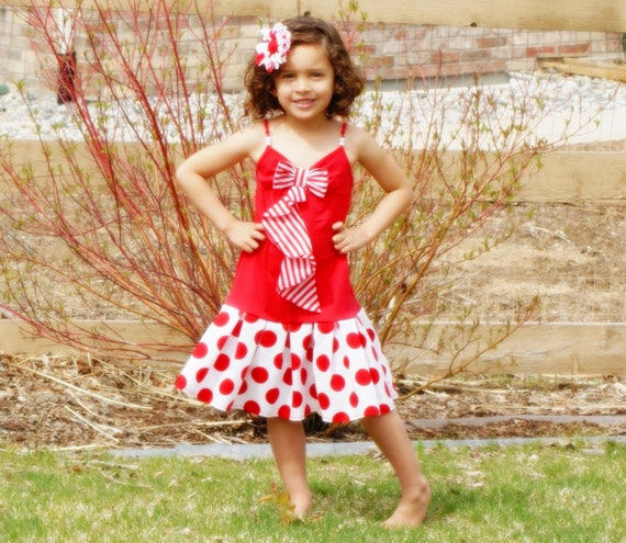 CLEARANCE SALE Girls Dress Red White Stripe Bow Dress with Red White Polka Dots - Last One S 4