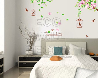 PEEL and STICK Removable Vinyl Wall Sticker Mural Decal Art - Hanging Sakura Cherry Blossom with Birdcages