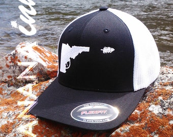 Idaho Gun-Tree Hat- Flex Fit -BANANA ink