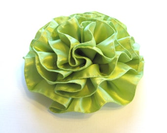 Apple Green Satin Ruffled Hair Flower or Pin Accessory