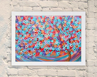 Giclee Print of Original Tree Painting - Purple, Teal, & Turuoise Abstract Tree Painting