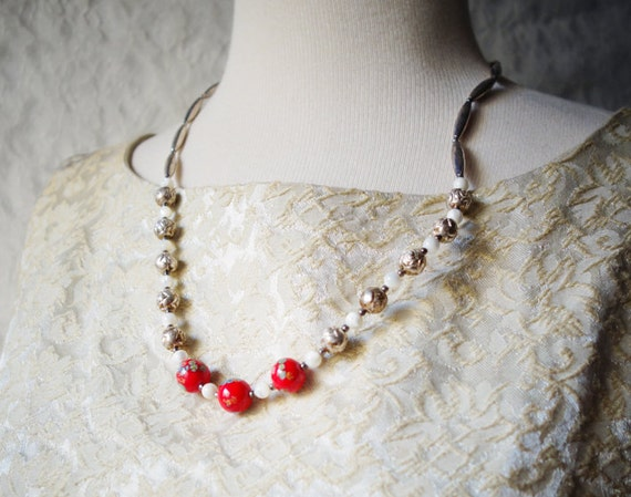 SALE Vintage 1950s Sterling Silver Plate Italian Glass Bead Necklace Beaded