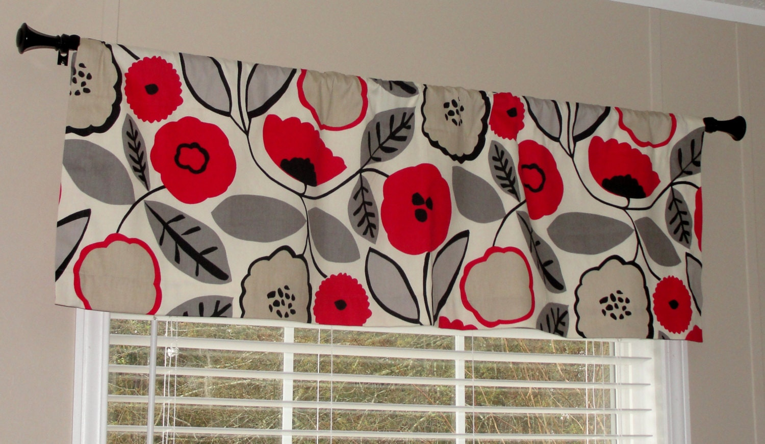 Clearance Richloom Red Poppy Valance 50 Wide X 16