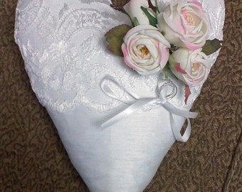 Victorian floral ring pillow with roses