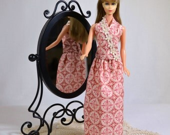 Mod Barbie Retro 60s 70s Halter and Skirt Outfit Pink Print Handmade