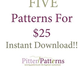 Five Pattern Bundle - Instant Download