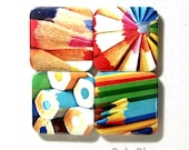 Colored Pencils medium button badges or fridge magnets