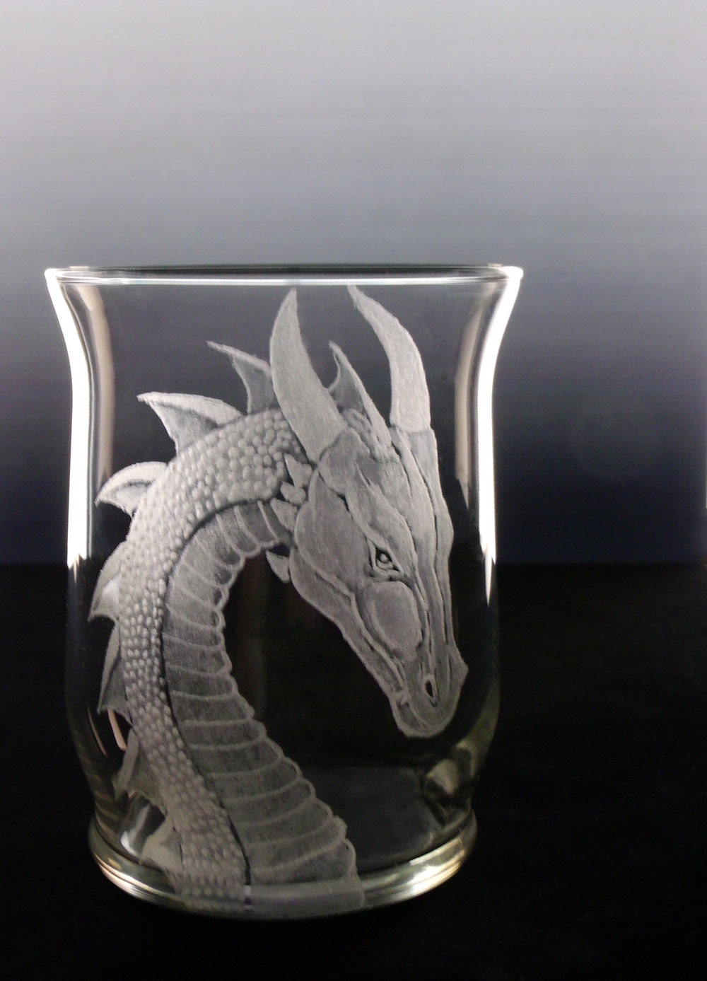Home decor Dragon votive candle holder engraved clear glass