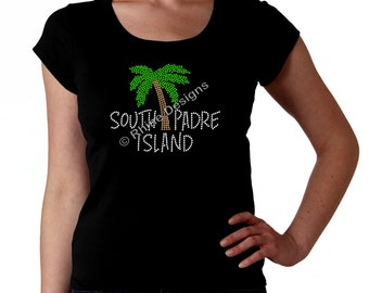 South Padre Island RHINESTONE T-Shirt or Tank Top Bling S M L XL 2XL - Palm Tree Tropical Beach Sun Sand Water Spring Break Bling