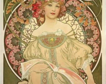 ART NOUVEAU Art print Fine ART Print Champagne-- Beautiful Woman with flowers from vintage Alphonse Mucha