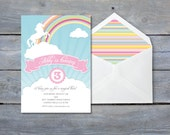"RAINBOW Party Invitation - Unicorn Birthday - Personalized - 7""x5"" - Print Your Own - DIY"
