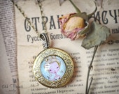 On Sale!!! BUTTERFLY PRINCESS Victorian Art Locket  Necklace By Odd Princess, Wearable Art, Gift For Her