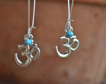 Silver Om/Ohm/Aum Earrings with Gemstone Accents
