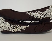 Swarovski Crystal - Brown Venise Lace Flats - SIZE 7 - Wedding - Special Ocassion - After Party Flats