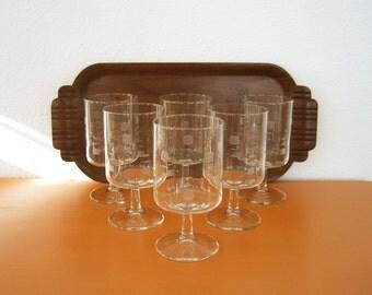 Vintage Retro Modern Wine Glasses, Set of 6