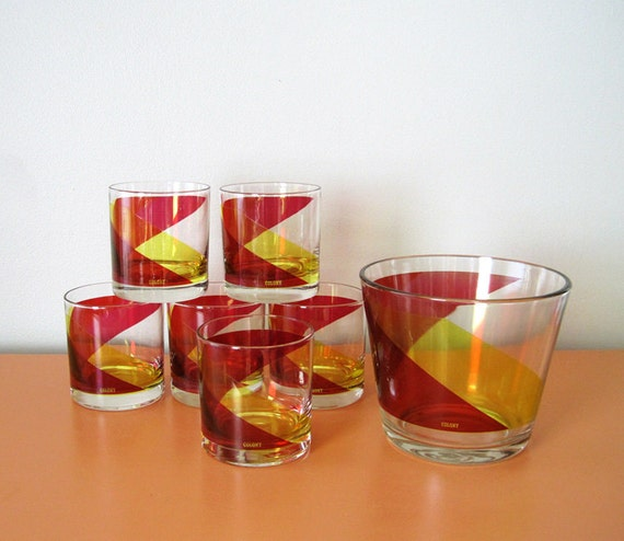 Retro Colony Glasses and Ice Bucket, Service for 6