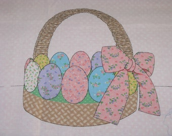 Easter EGG Basket Fabric Craft Cut and Sew Panel Cotton 1 Yard Panel vintage 1970's