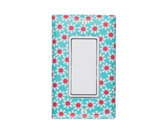 READY TO SHIP Aqua Coral Nursery Decor/ Daisy Light Switch Plate Cover / Baby Girl Kids Room / Michael Miller / Slightly Smitten Kitten
