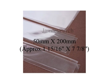 100pcs Long Rectangular Thick Crystal Clear  Cello Poly Bag 50mm X 200mm