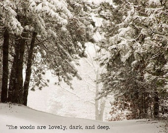 Winter Snow Landscape Robert Frost Quote Trees Woodlands Sepia Rustic Country Decor Surreal Mysterious,  Fine Art Print
