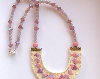 Pastel embroidered necklace banner bunting triangle pendant with beads modern Spring jewelry