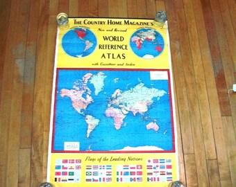 Vintage large world map  Etsy