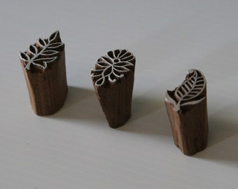 Leaf Stamps - Set of 3 Small Stamps - Wood Blocks - India