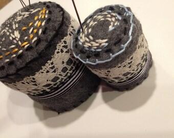 Hand Sewn Bottle Cap Pincushion and Matching Mini
