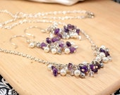 Amethyst & Pearl Gift Set - Necklace and Matching Earrings - Gemstone Chips, Glass Pearls and Swarovski Crystal Clusters