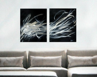 Abstract Painting Black white Abstract Art on canvas Diptych custom made to order Art, Original Art Contemporary Art