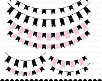 Pink and Black Banner clip art - ribbon clipart graphics, ribbon bunting scrapbook : c0248 3s3749