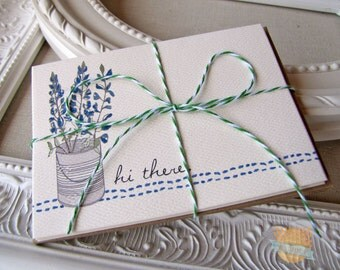 Texas Notecards- Texas Bluebonnets- Hi there - Texas Stationery - Wildflower Notecards - Blank Floral Greeting Cards - Texas Wild Flowers