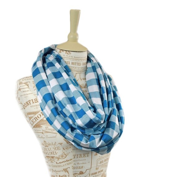 Blue Gingham Infinity Scarf Checkered Summer Country