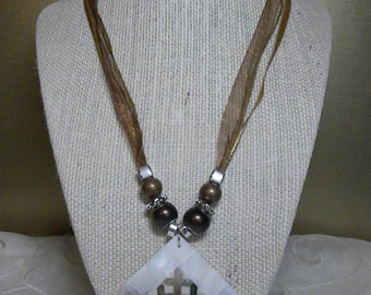 Necklace: White Square Shell Pendant with Rainbow Xs Necklace