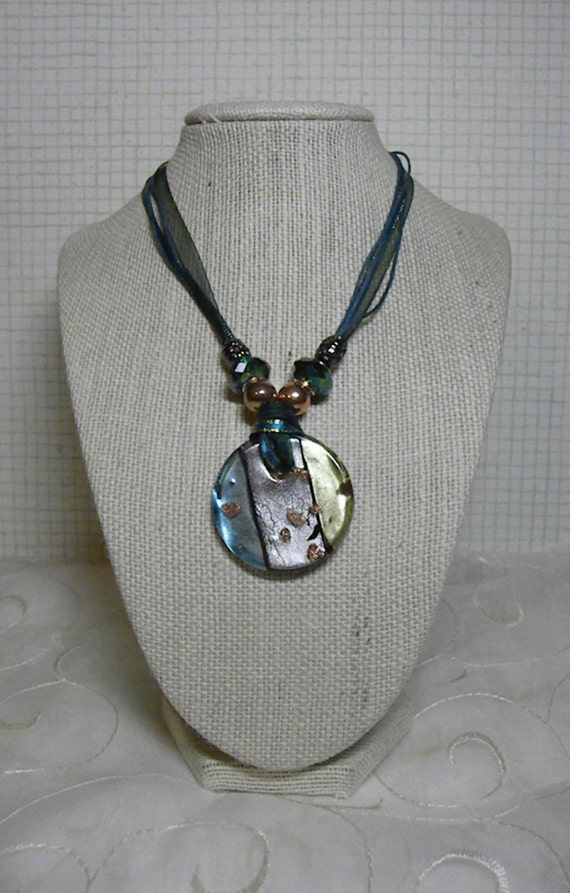Blue, Green, and Silver Striped Glass Pendant Necklace on a Turquoise Ribbon And Cord Choker