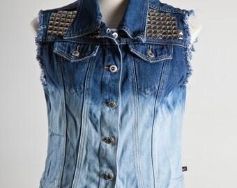 Denim Vest Jacket - Ombre Dip Bleached and Studded