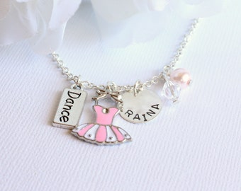 Pink Ballet Charm Dance Necklace Girls Personalized Sterling Silver Hand Stamped Name, Ballerina Tutu Dress, Dance -- FREE Gift Packaging