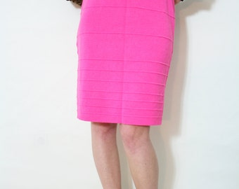 Vintage 80s Hot Pink High Waist Sweater Knit Bandage Skirt
