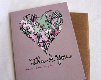 Thank you card - from the bottom of my heart - Valentine's Day Thank You