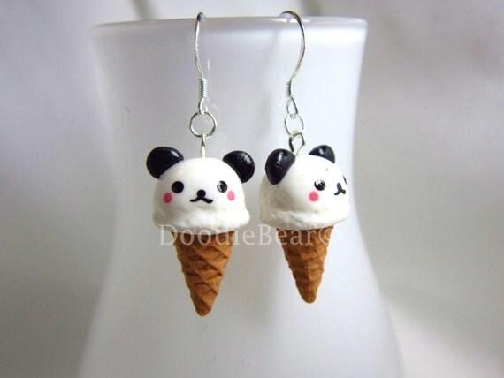 Panda Ice Cream Kawaii Earrings