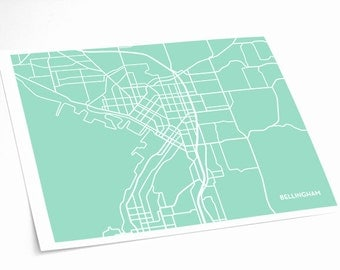 Bellingham City Map Art Print / Washington Wall Art Poster / 8x10 Digital Print / Choose your Color