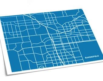 Bakersfield City Map Wall Poster / California Map CSUB University Line Art Grad Gift / 8x10 Digital Print / Personalized colors