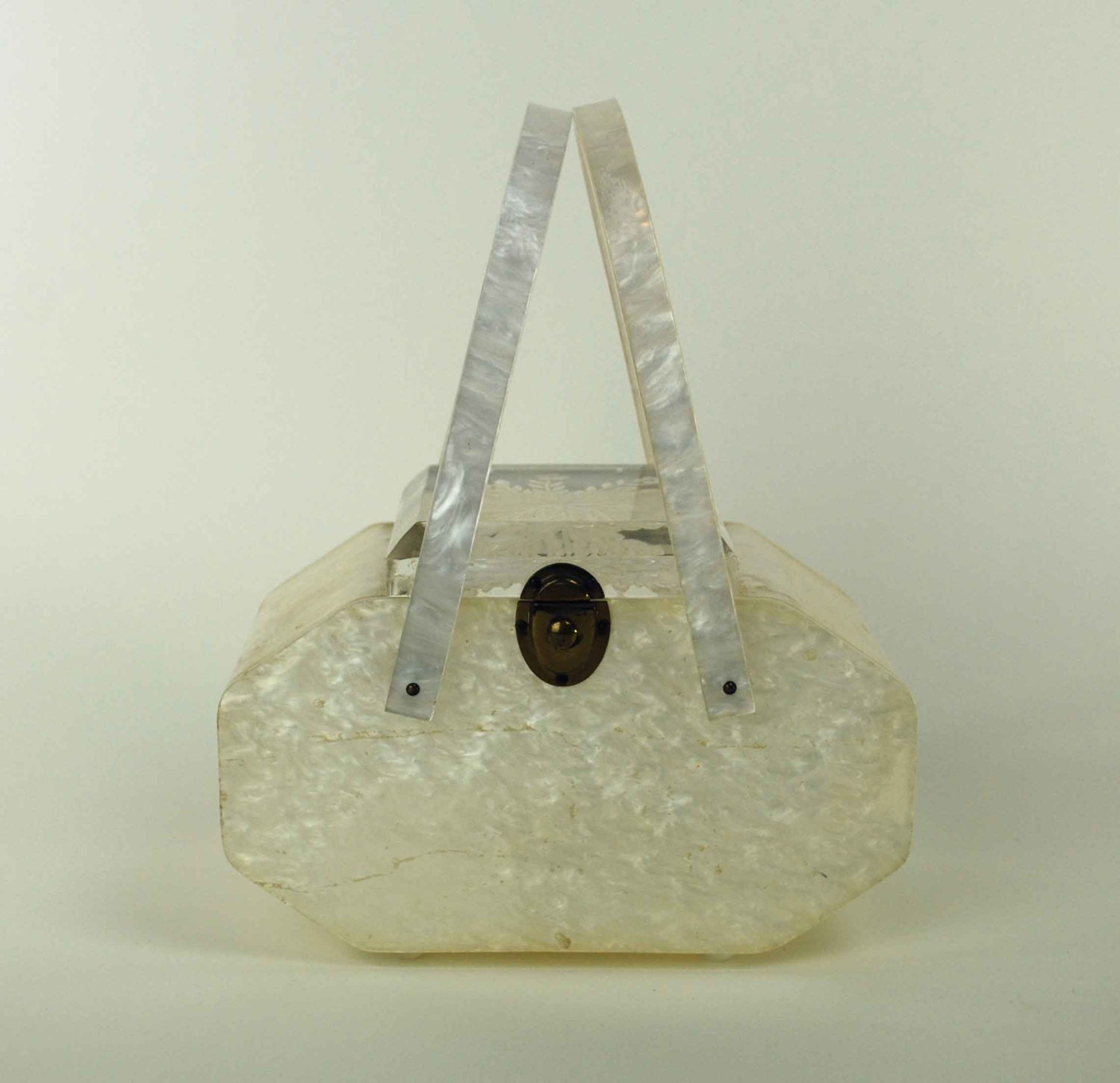 Vintage Lucite Box Purse 1950s White By Independencevintage