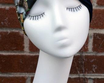 Mix Match Graffiti/ Street Print and Black Faux Leather Tab with Denim Turban Headband