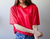 Vintage Red Cheetah Print Tshirt Blouse Shirt Metallic Shine Tee Animal Print Hipster Dance Large Extra Large XL