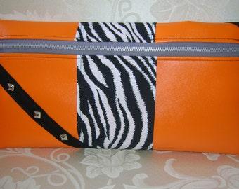 Orange Zebra Moto Clutch