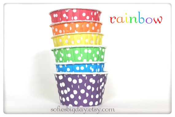 24 RAINBOW ASSORTMENT  Polka Dot Cupcake Liners/ Candy or Nut Cups - ice cream cups-rainbow party-24 count